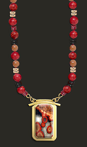 poppy jasper, apple coral bead necklace