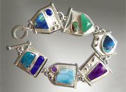 silver gemstone link bracelet
