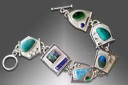 malachite, larimar, chrysocolla, opal link bracelet