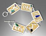 gold silver cabochon bracelet