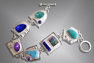 silver gemstone  cabochon bracelet
