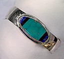 turquoise, lapis, sugilite sterling cuff