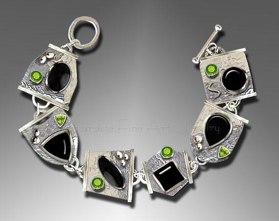Onyx and Peridot Silver Bracelet