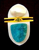 mabe pearl, chrysocolla druzy pendant