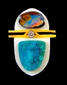 boulder opal and drusy pendant