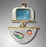 larimar, opal pendant
