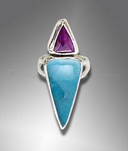 sugilite ring with larimar