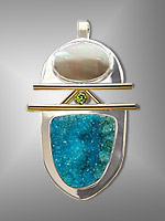 mabe pearl and chrysocolla drusy pendant