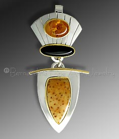 amber, onyx, palm wood pendant