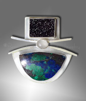 druzy azurite pendant