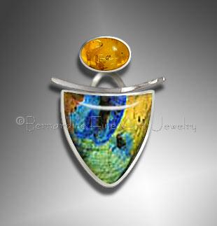 spectrolite amber pendant