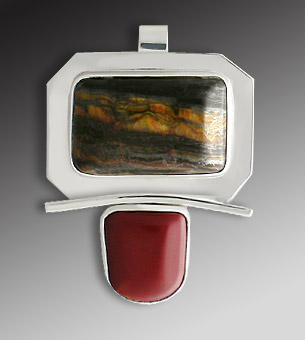 tiger eye, red jasper pendant