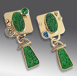 gold uvarovite earrings