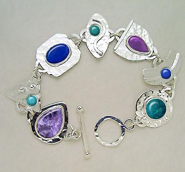 charoite, sugilite and chrysocolla bracelet