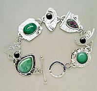 green gemstones bracelet