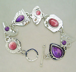 sugilite and rhodochrosite link bracelet