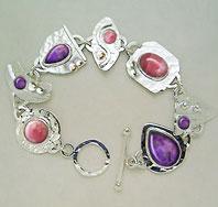 pink/purple cabochon bracelet