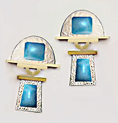 gold larimar earring design