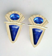sapphire and lapis earrings