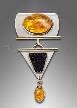 amber druzy pendant
