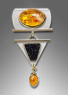 amber drusy pendant