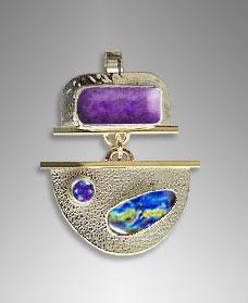 sugilite and opal pendant