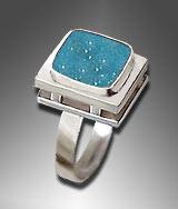 drusy chrysocolla ring