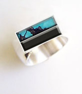 turquoise and onyx ring