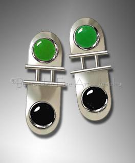 onyx & jade earrings