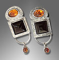 Baltic Amber, Black Onyx Sterling Earrings