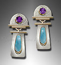larimar, amethyst earrings