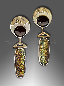 rainbow hematite drusy earrings