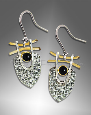 silver and gold earrings with black onyx