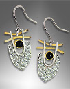 silver, gold earrings with black onyx