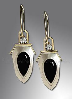 sapphire, onyx earrings
