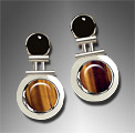 onyx and tiger's eye earrings