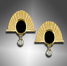onyx gold earrings