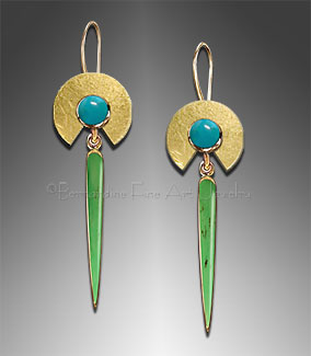 Gold Earrings with Chrysoprase and Chrysocolla