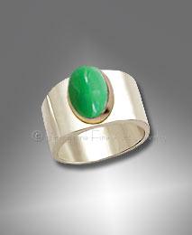 Chrysoprase Ring, Sterling, 14K