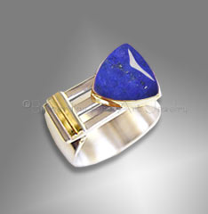 Men's Lapis Ring, Sterling, 14K