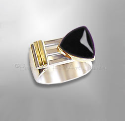 silver and gold onyx ring