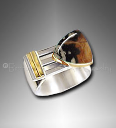 silver/gold men's ring