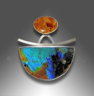 Baltic amber spectrolite pendant