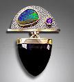 onyx, boulder opal pendant