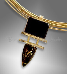 rutilated quartz, onyx pendant