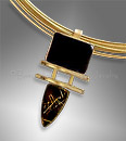 Rutilated Quartz Pendant with Onyx, 14K Gold
