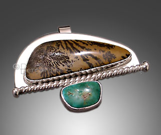 moss agate, turquoise pendant