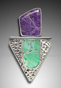 charoite and variscite pendant