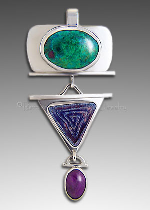 chrysocolla and sugilite pendant