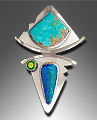 Boulder opal pendant with  turquoise